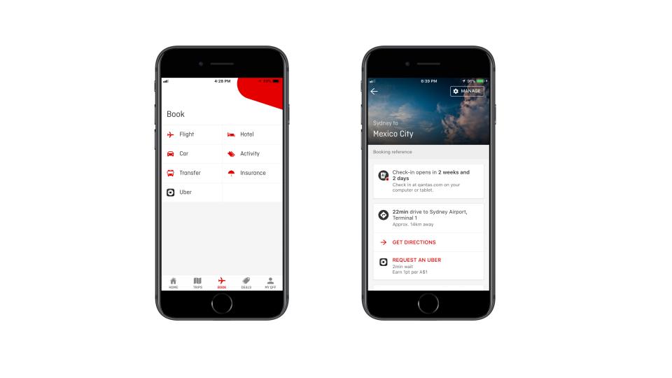 Qantas app - Uber integration