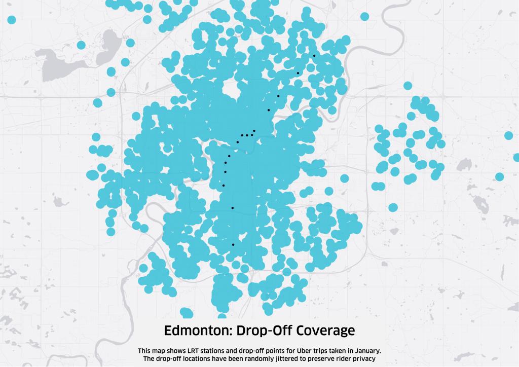 Black dots represent LRT stops. Blue circles represent uberX drop-offs.