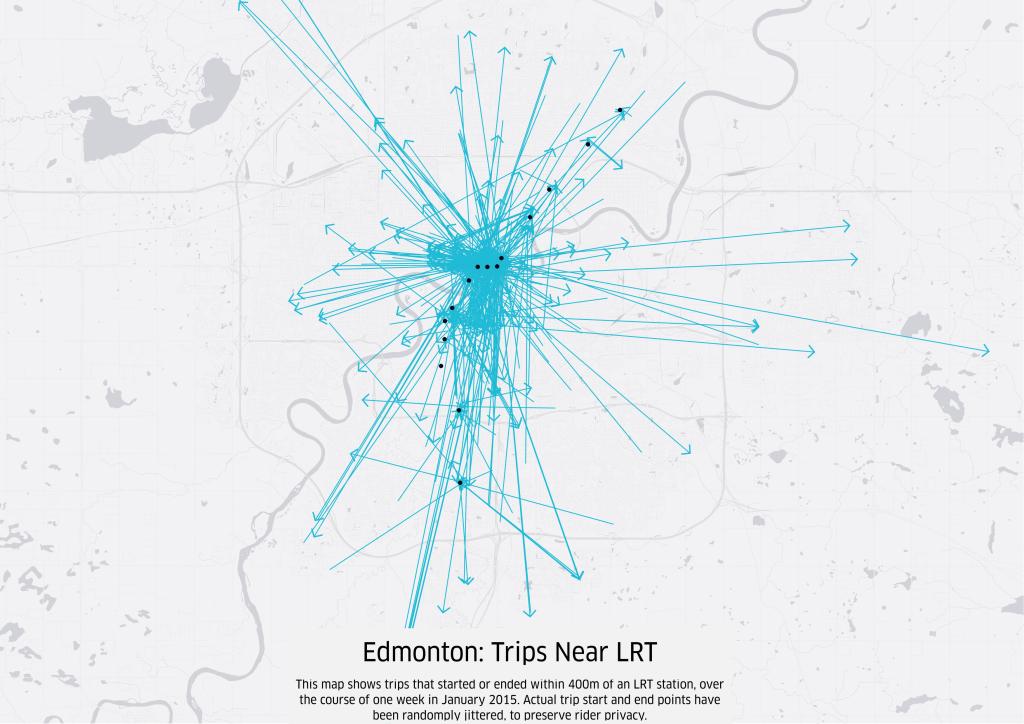 Black dots represent LRT stops. Blue arrows represent uberX trips.