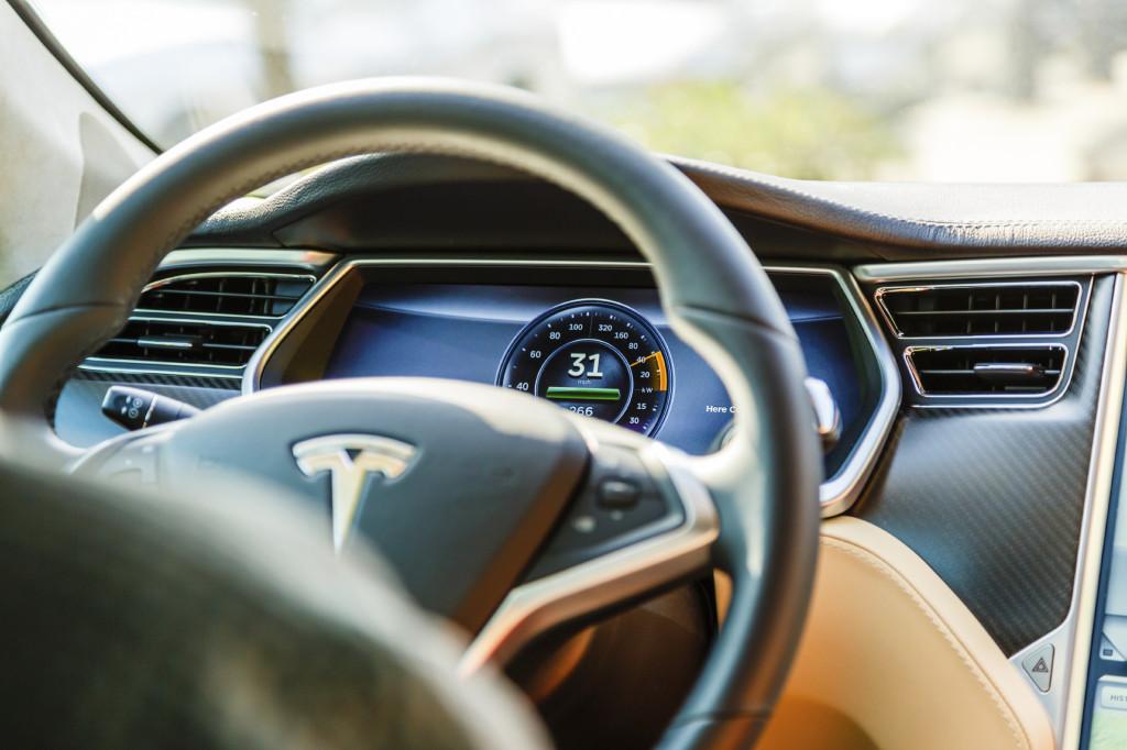 Cockpit of Tesla Model S car