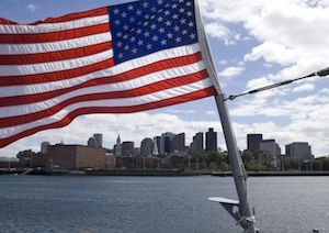 American Flag in Boston Harbor