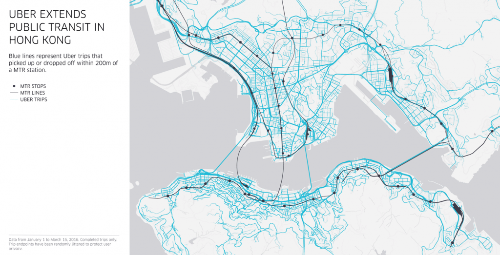 Uber Extends Public Transit – map showing Uber trips starting or ending within 200m of an MTR station